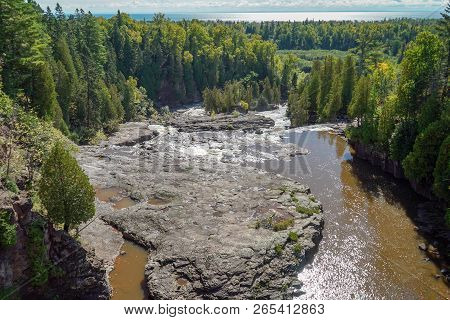 Panoramic View Of Gooseberry Falls In Minnesota