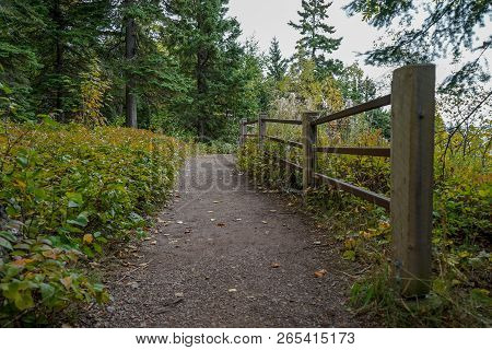Beautiful Paved Trail With Wooden Fence At Overlook On The North Shore Of Lake Superior