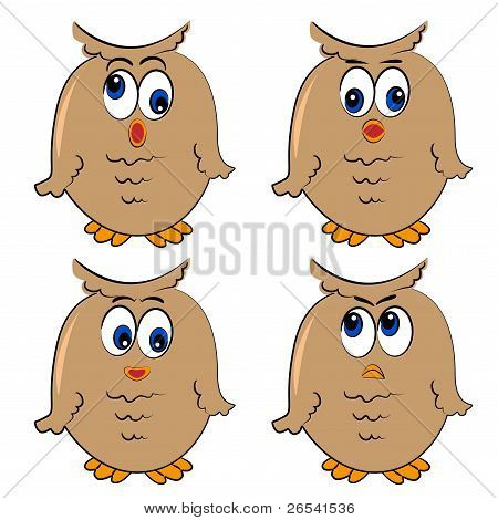 owl vector set. different emotion.isolated cute characters.none background poster