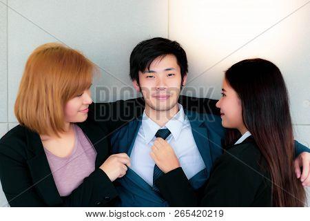 Portrait Handsome Lover Guy. Charming Handsome Businessman Is A Prayer. Attractive Handsome Guy Flir
