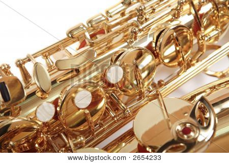 Background. Golden saxophone isolated over white. Musical Instrument. poster