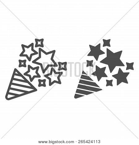 Firecracker Line And Glyph Icon. Confetti Popper Vector Illustration Isolated On White. Party Popper