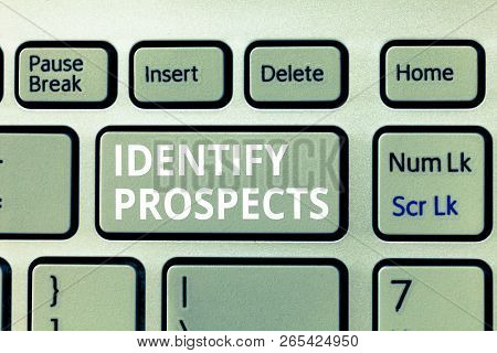 Writing note showing Identify Prospects. Business photo showcasing Possible client Ideal Customer Prospective Donors poster
