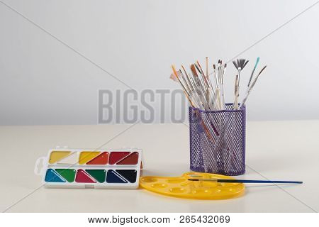 Watercolor Paints, Pallet, Cup With Brushes For Children