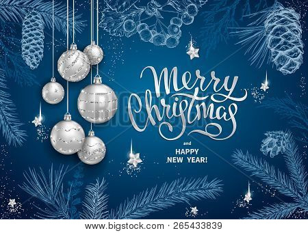 merry christmas and happy new year card with realistic silver balls stars sequins sketch of different branches of fir tree cedar pine hawthorn and