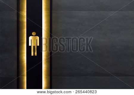 Male Restroom Sign. Restroom Signs In Public Place. Important Signs And Symbols Concept. Simple Sign