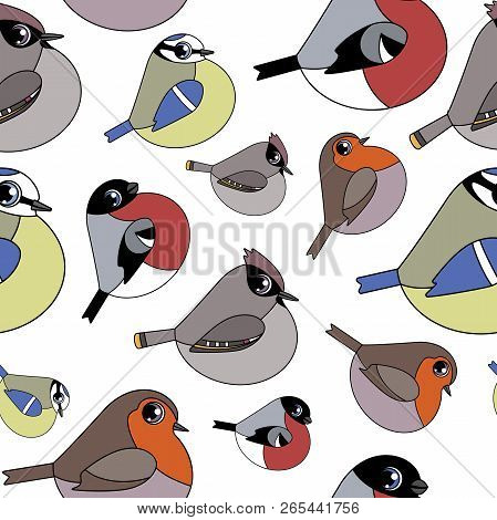 Stock Vector Template Seamless Birds Pattern On White Background