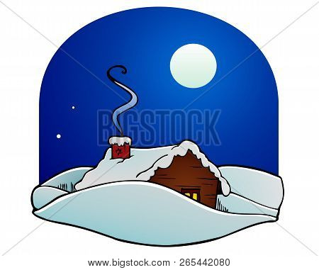 Cabin In The Snow, Full Moon Winter Night