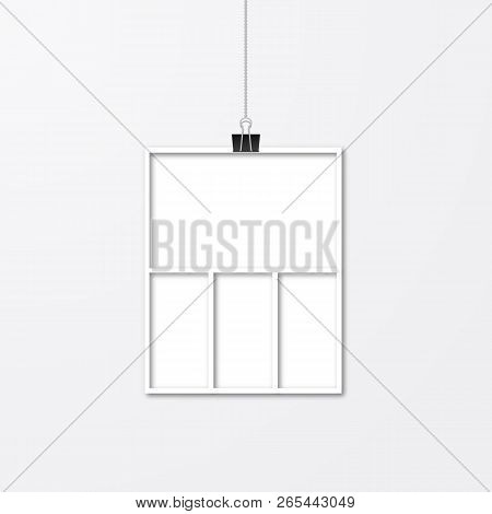 Realistic Isolated White Paper Photo Frame Hanging By Binder Clips. Template Collage Vector Illustra