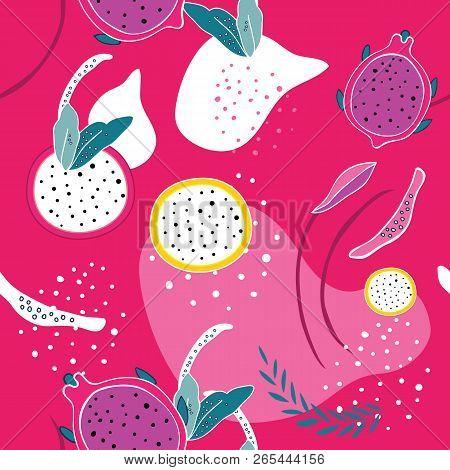 Colorful Pink Seamless Background Pattern Exotic Tropical Fruits Dragon Fruit Pitaya Pitahaya Slices