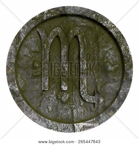 Horoscope Sign Scorpio Moss Stone Disc, 3d Illustration