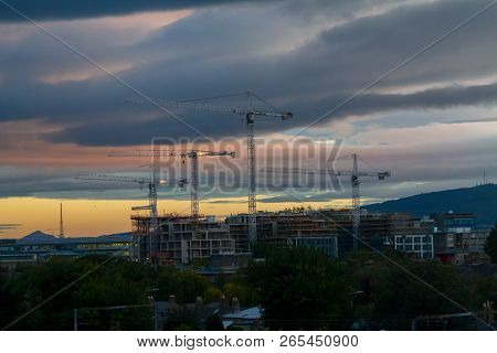 Dublin, Ireland - October 20, 2018: View Of Dublin City Buildings And Streets In Autumn Sunset Light