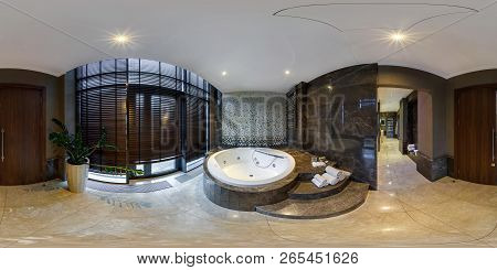 Minsk, Belarus - August 2017: Full Seamless Panorama 360 Angle View In Elite Vip Bathroom With Jacuz