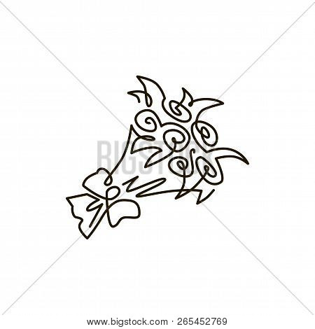 Vector Line Icon. Bouquet Of Flowers. One Line Drawing. Isolated On White Background. Continuous Sin