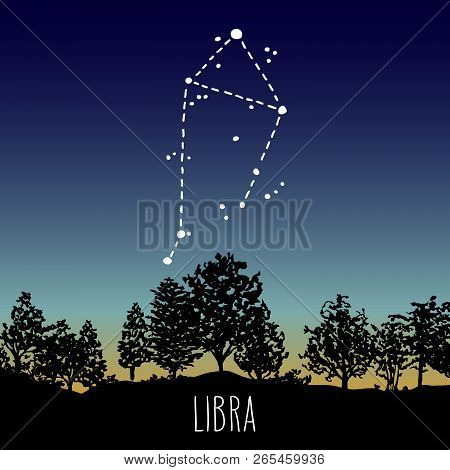 Libra Hand Drawn Zodiac Sign Constellation In A Twilight Sky Over The Deciduous Forest. Vector Graph