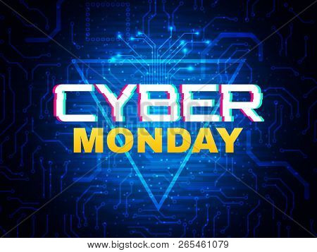 Cyber Monday Concept. Advertisement Banner. Online Sale Design. Futuristic Style Poster. Cyber Monda