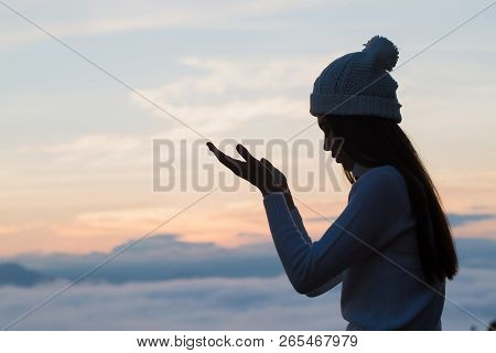 Woman Hands Praying To God  Woman Pray For God Blessing To Wishing Have A Better Life. Begging For F