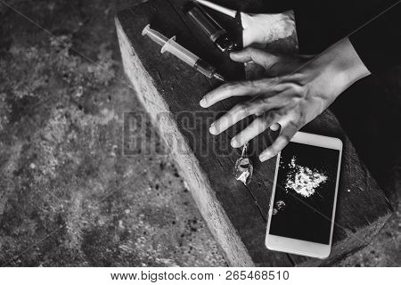 Human Hands On Dark Background, Stop Drug Addiction Concept, Do Not Interfere With Drugs,  Internati