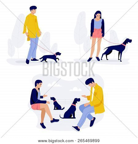People Walking With Dogs, Men And Women With Their Pets Stock Illustration