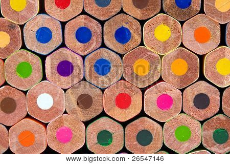 Macro shot of colored pencils back, studio shot