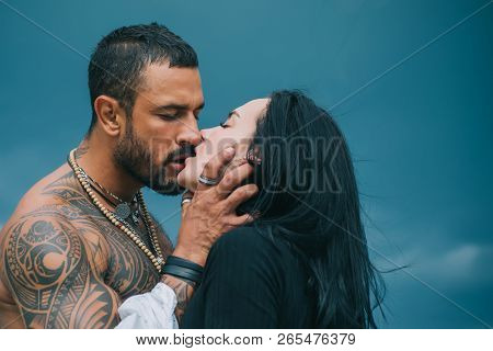 Passionate Man Gently Kissing Beautiful Woman. Romantic Couple Kissing. Lover Enjoys Touching Soft S