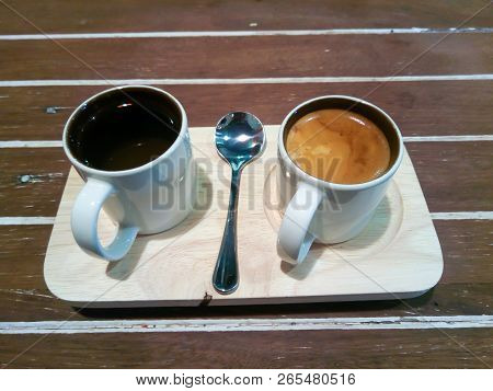 A Cup Of Coffee Hot Coffee And Hot Tea. Coffee Espresso Classic. Traditional Coffee On Wooden Table.