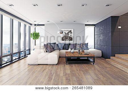 modern design living room interior. 3d rendering concept