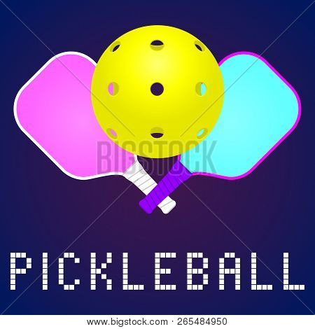 Rackets Or Paddles And Ball For Pickleball Game In Modern Color. Flat Icon, Logo Or Label Clipart. S