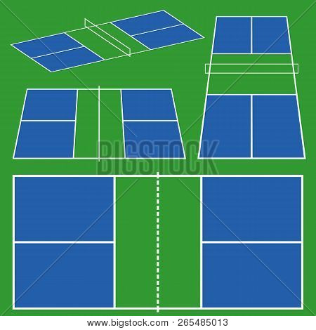Pickleball Court Game Scheme. Different Perspective Top, Side, Isometric View In Flat Line Color. St