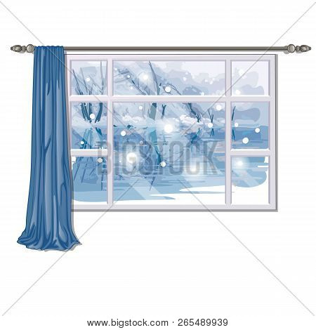 The Window Overlooking The Forest River In Winter Isolated On White Background. Interior Design Luxu