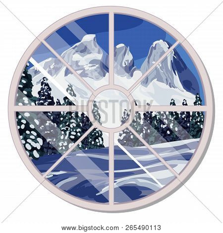 The Round Window Overlooking The Snow-covered Mountain Slope And Coniferous Forest In Winter Isolate