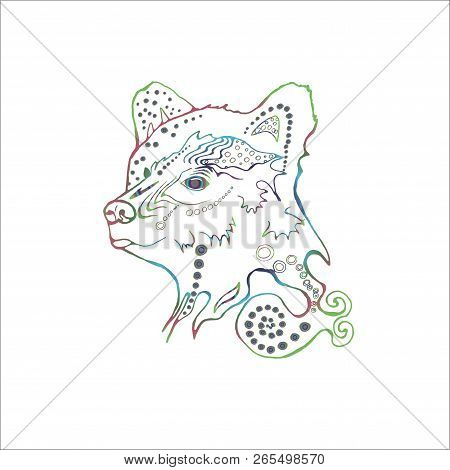 Gradient Illustration Of A Psychodelic Beautiful Bear. The Idea For A Tattoo