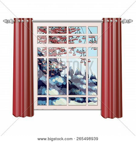 The Window Overlooking The Branches Of Red Ash With Frozen Berries In Winter Isolated On White Backg