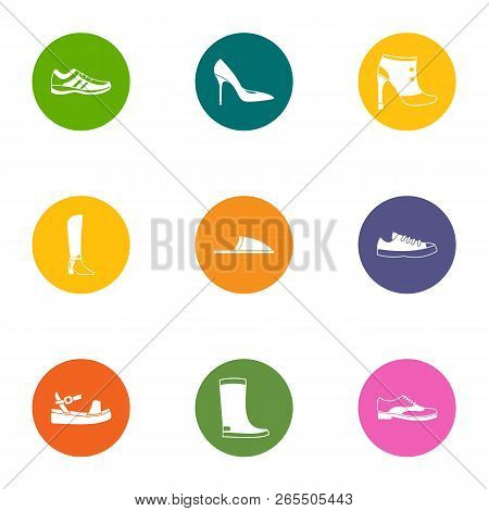 Footgear Icons Set. Flat Set Of 9 Footgear Icons For Web Isolated On White Background