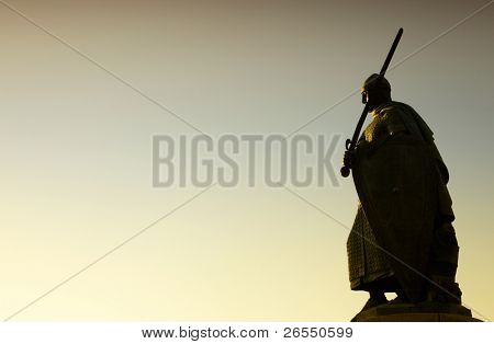 Silhouette of Afonso Henriques statue in Guimaraes Portugal. European Capital of Culture 2012
