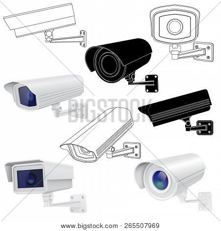 Cctv Security Camera Set. Surveillance Devices. 3d And Outline Drawings. Vector Illustration Isolate
