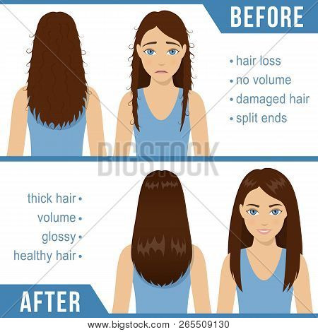 Care For Straight Hair. Common Hair Problems - Split Ends, Damaged Hair, Hair Loss. Before And After