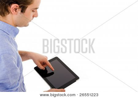 Business man with tablet computer. Isolated over white background.