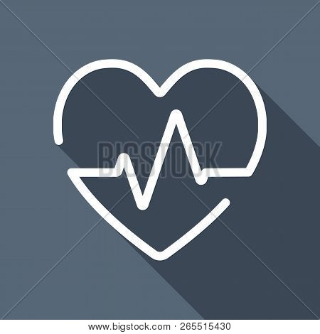 Heart And Pulse Line. One Line Style. Linear Icon With Thin Outline. White Flat Icon With Long Shado