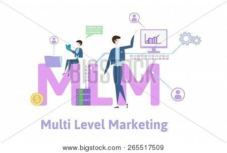 Mlm, Multi-level Marketing. Concept Table With Keywords, Letters And Icons. Colored Flat Vector Illu
