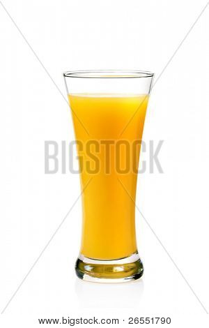 A Glass of orange Juice, Isolated On White background