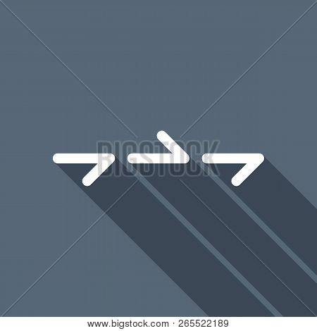Few Arrows, Same Direction. Linear, Thin Outline. White Flat Icon With Long Shadow On Background