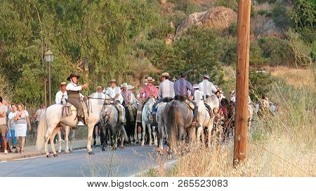 Alora, Spain - August 26, 2018: Group Of Local Horsemen Forming Advanced Honor Guard For The Annual