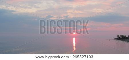 Bay At Sunset. Colorful Sunrise Landscape In Sea. Delicate Colors Of Early Morning In Blue And Pink