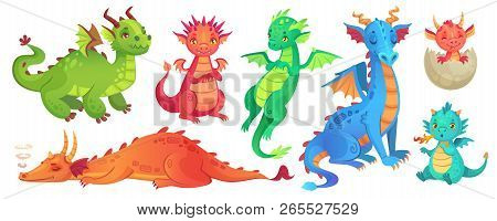 Fairy Dragons. Funny Fairytale Dragon, Cute Magic Lizard With Wings And Baby Fire Breathing Serpent
