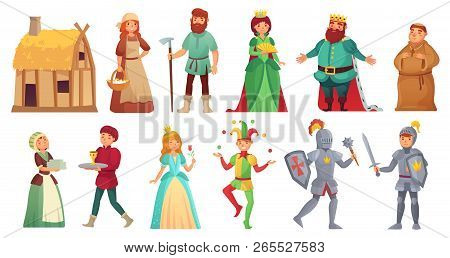 Medieval Historical Characters. Historic Royal Court Alcazar Knights, Medieval Peasant And King Isol