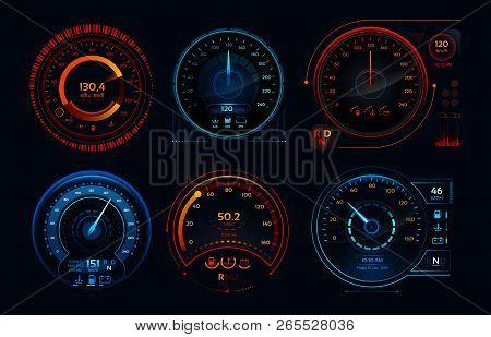 Futuristic Car Speedometer. Speed Hud Kilometer Performance Indicators Dashboard, Gas And Fuel Level