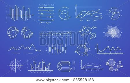Linear Graph Chart. Thin Line Charts, Modern Statistics Graphs And Circular Bar Progress Presentatio