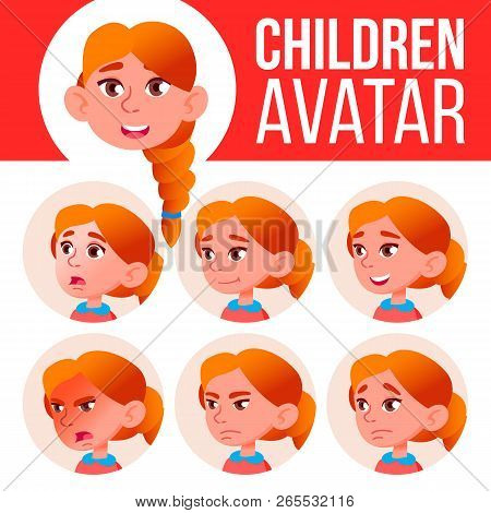 Girl Avatar Set Kid Vector. Redhead. High School. Face Emotions. Emotions, Emotional. Leisure, Smile