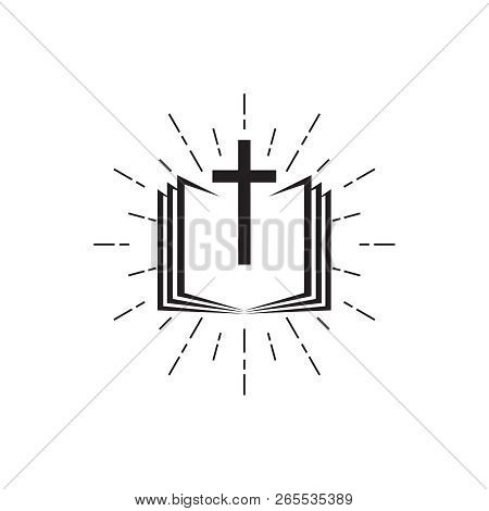 Holy Bible Icon With The Cross. Vector Illustration.